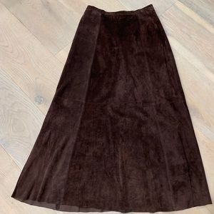 Chico's Brown modest maxi suede leather skirt S